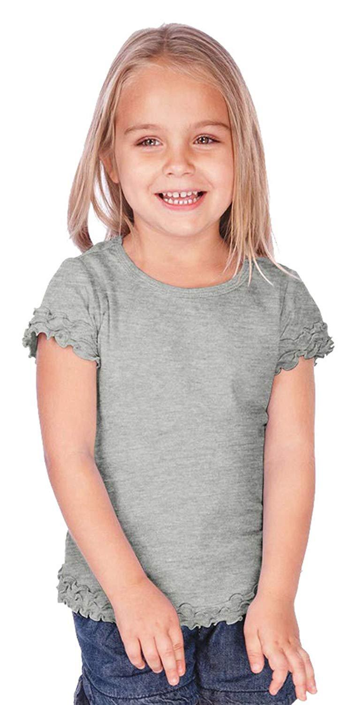 40ea89bd26796 Get Quotations · Kavio Little Girls 3-6X Crew Neck Lettuce Edge Short Sleeve