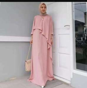 OEM High quality asymmetrical design muslim dress newest baju kurung malaysia maxi pink dress