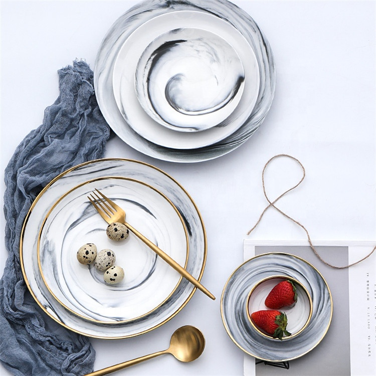 Graceful marble series ceramic food dishes marble serving round plate for party