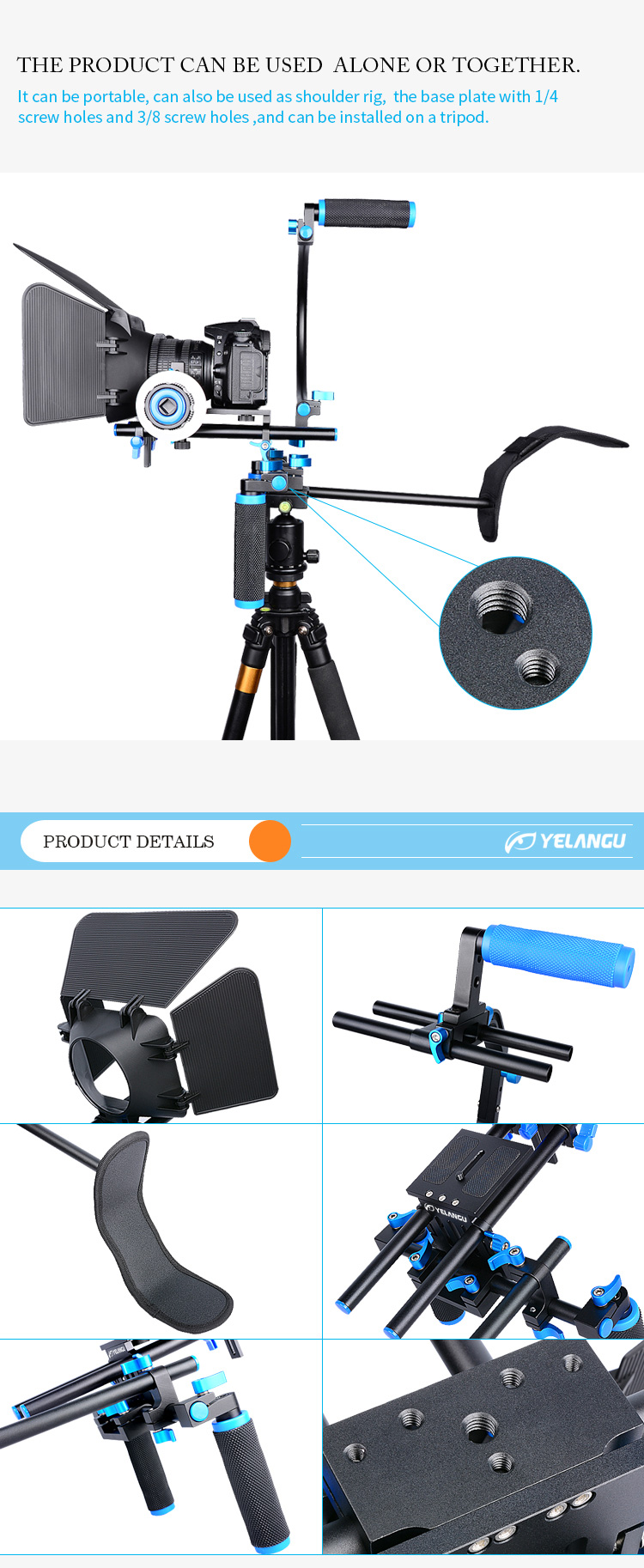 YELANGU D100 Removable Shoulder Rig Mount Follow Focus Matte Box with Top Handle for DSLR Video Camera, Camcorder
