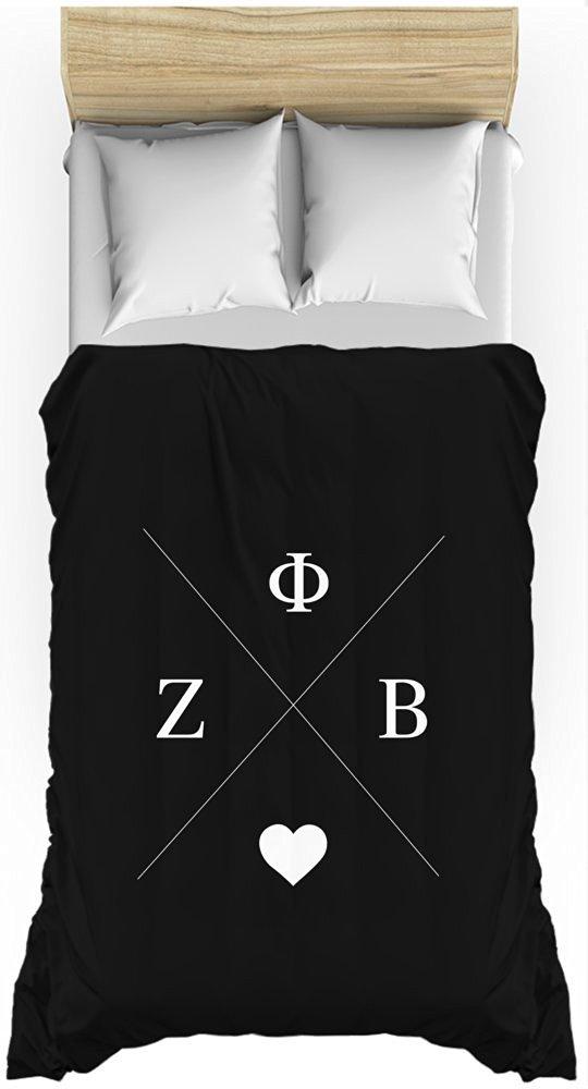 Zeta Phi Beta Hipster Logo Black Lightweight Duvet Cover for Twin Bed