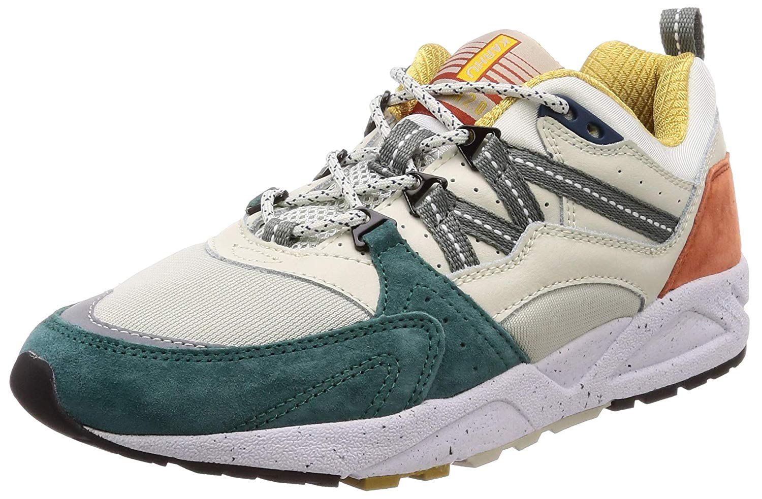 Karhu Men's Fusion 2.0 Beige, Teal and Rust Leather and Nylon Sneaker
