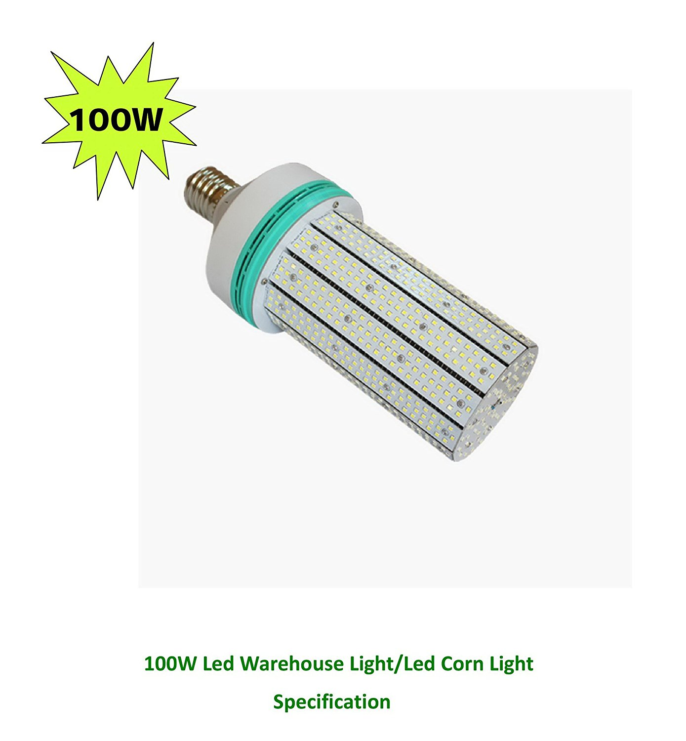 Leson 500W Equivalent E39/E40 Mogul Base 100W Daylight 6000K LED Corn Light Bulb,Super Bright AC 100-277V for Parking Lot Street Lamp Post Lighting Garage Warehouse High Bay Barn Porch Backyard Garden