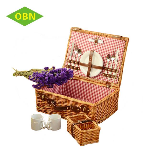 Cheap empty wicker vintage 4 person picnic baskets set