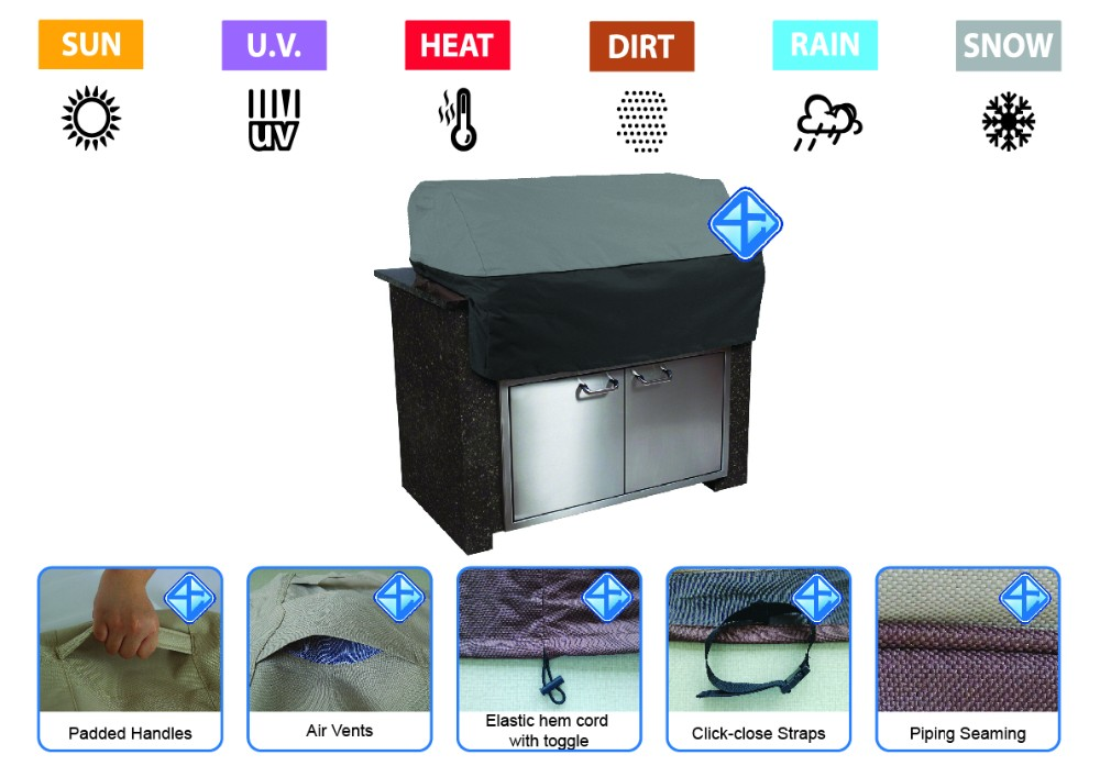 New cheap waterproof outdoor built-in bbq cover designs
