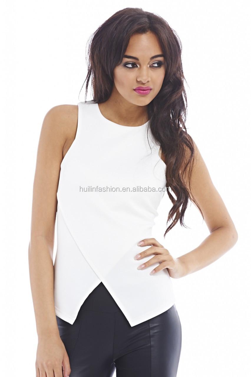 Shirt design female - T Shirt Design For Ladies Sleeveless Vest Unique Design Latest Tops Designs Girls