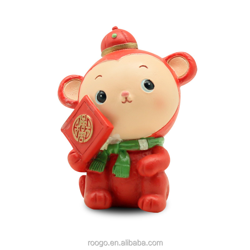 Roogo resin china new year cartoon funny red lucky baby monkey figures for kids toy
