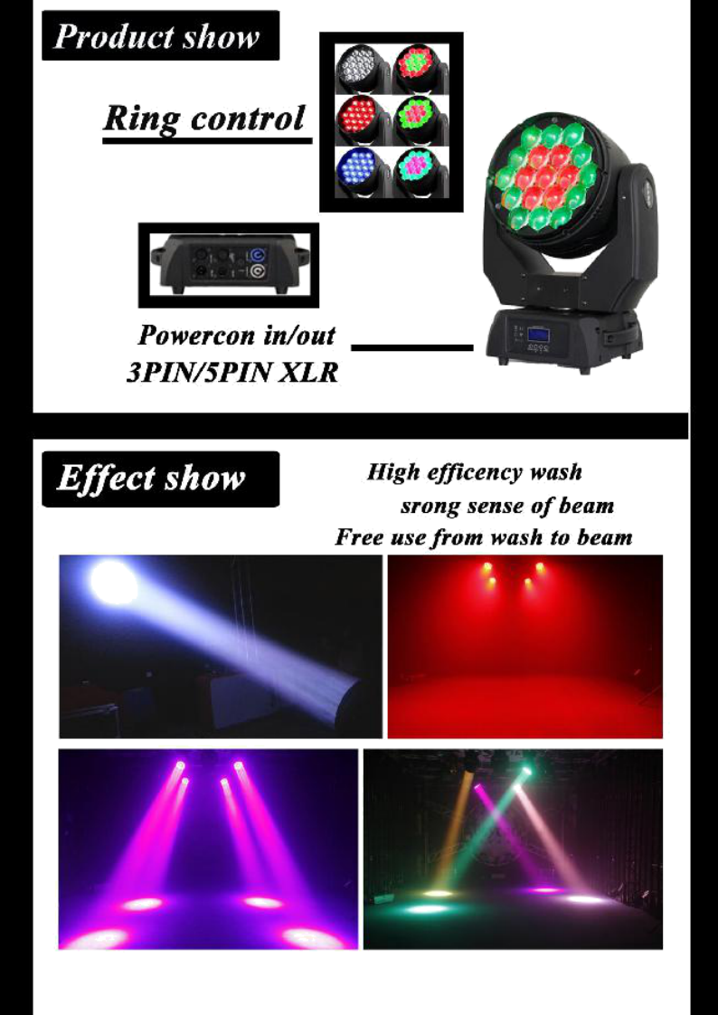 Rgbw Zoom Beam Wash 19 Piece Moving Head 15w Led Stage Lighting ...