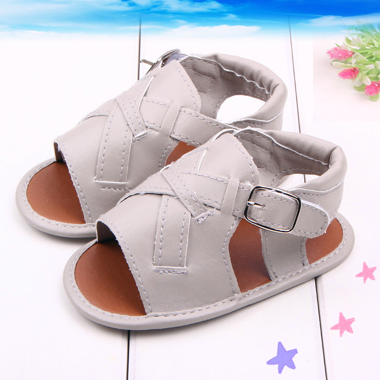61fbe9f52e61 Get Quotations · 2015 PU Leather Prewalker Anti-skid Soft Sole Boys Shoes  For New Born Infant Baby