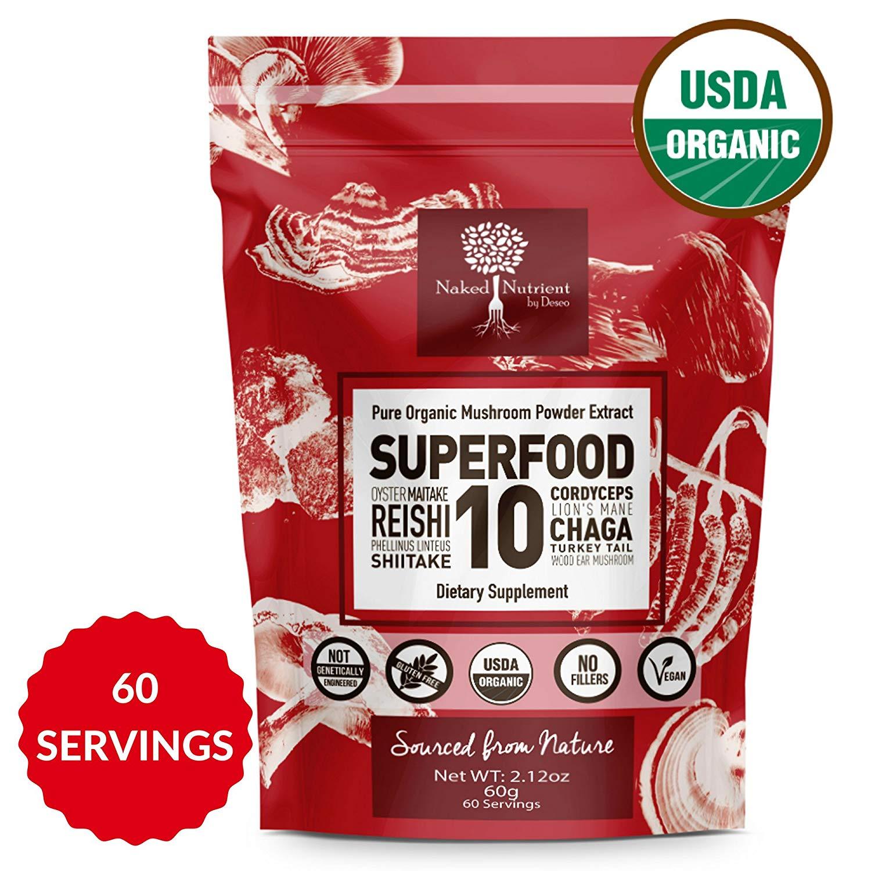 SUPERFOOD 10 Organic Mushroom Powder Extract Supplement- 100% Pure-USDA- Reishi-Chaga-Maitake-Cordyceps-Shiitake-Lions Mane-TurkeyTail-Oyster-Phellinus linteus-Astragalus-Add to Coffee/Tea/Drinks-60g