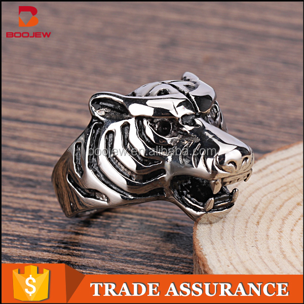Hip hop 316l stainless steel leopard haed shaped male ring for cool men China 2016 new products