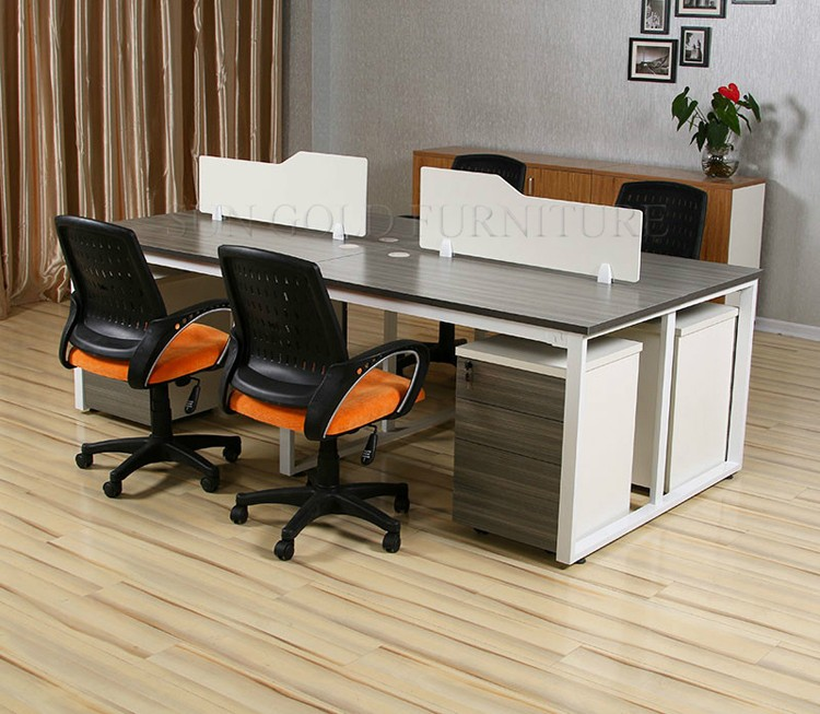 Office Table For 4 Person: Modern Office 4 Person Computer Table Workstation Design