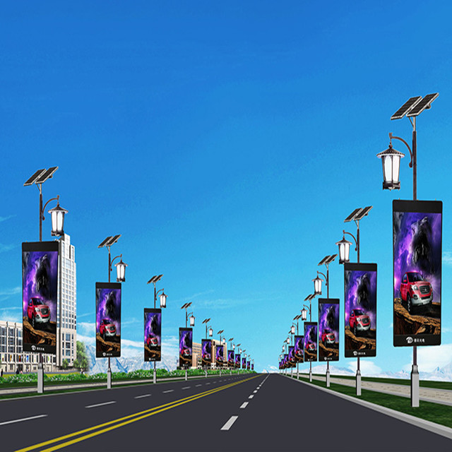 Outdoor Road Street WIFI 3G 4G Wireless Advertising Full Color Pole Lamp Post LED Screen