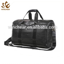 Best sellers black genuine leather dual round shoulder straps portable travelling traveler gym duffle bag