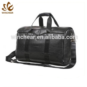 80fef3c0df Best sellers black genuine leather dual round shoulder straps portable  travelling traveler gym duffle bag