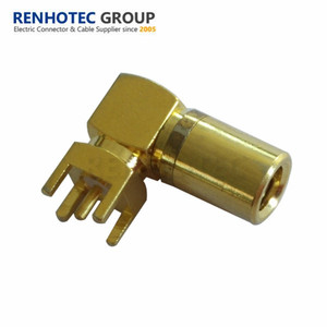 Right angle pcb mount SMB male RF coaxial connector