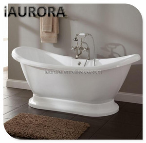 Pedestal bathtub skirted freestanding with faucet tubs