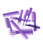 Xinlinda brand purple color personalized plastic hair travel hairdressing hair coloring comb set