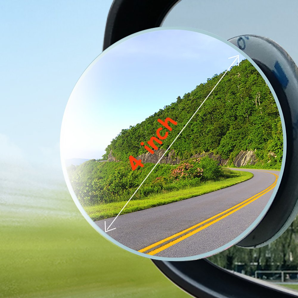 Autoly 75mm Diameter 360 Degree Adjustable Rearview Round Convex Blind Spot Mirror Stick-on for Car
