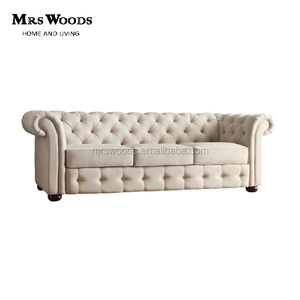 classic beige linen upholstery tufted button chesterfield sofa