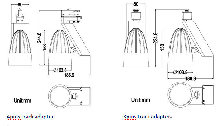 cri90 3 wires dimming led cob illuma track lighting with ul listed driver