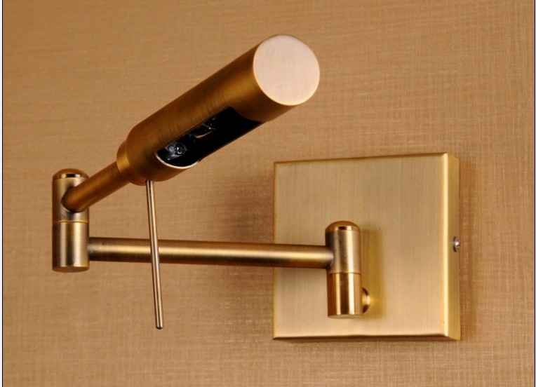 Antique Brass Rotatable Bedside Led Wall Lamp With Swing Arm