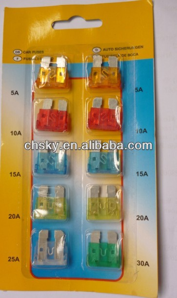 car median fuse blade fuse blister package 10A 15A 20A 25A 30A