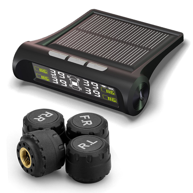 TPMS Solar-powered Wireless External Automotive Tire Pressure pressure Monitoring Alarms Car tpms