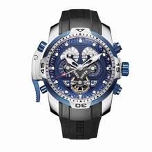 Мужские спортивные наручные часы Reef Tiger/RT, цвета розового золота, водонепроницаемые автоматические часы с синим резиновым ремешком в стиле ...(Китай)