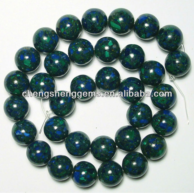10mm synthetic round azurite malachite/chrysocolla loose beads for sale