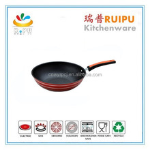 healthy red aluminum cast iron non-stick wok with bakelite handle