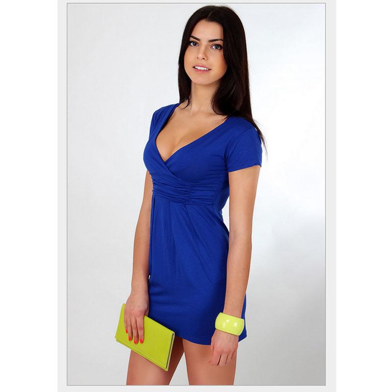 c29989845e5e 2015 New Women Summer Dresses Fashion Casual Deep V-neck Women Clothing  Bodycon Elegant Multicolor Mini Stitching Dress