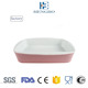 Stripe pattern rectangle shape french style pink color ceramic bakeware with handles for baking