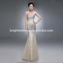 long haute couture hand made dresses women evening fish cut