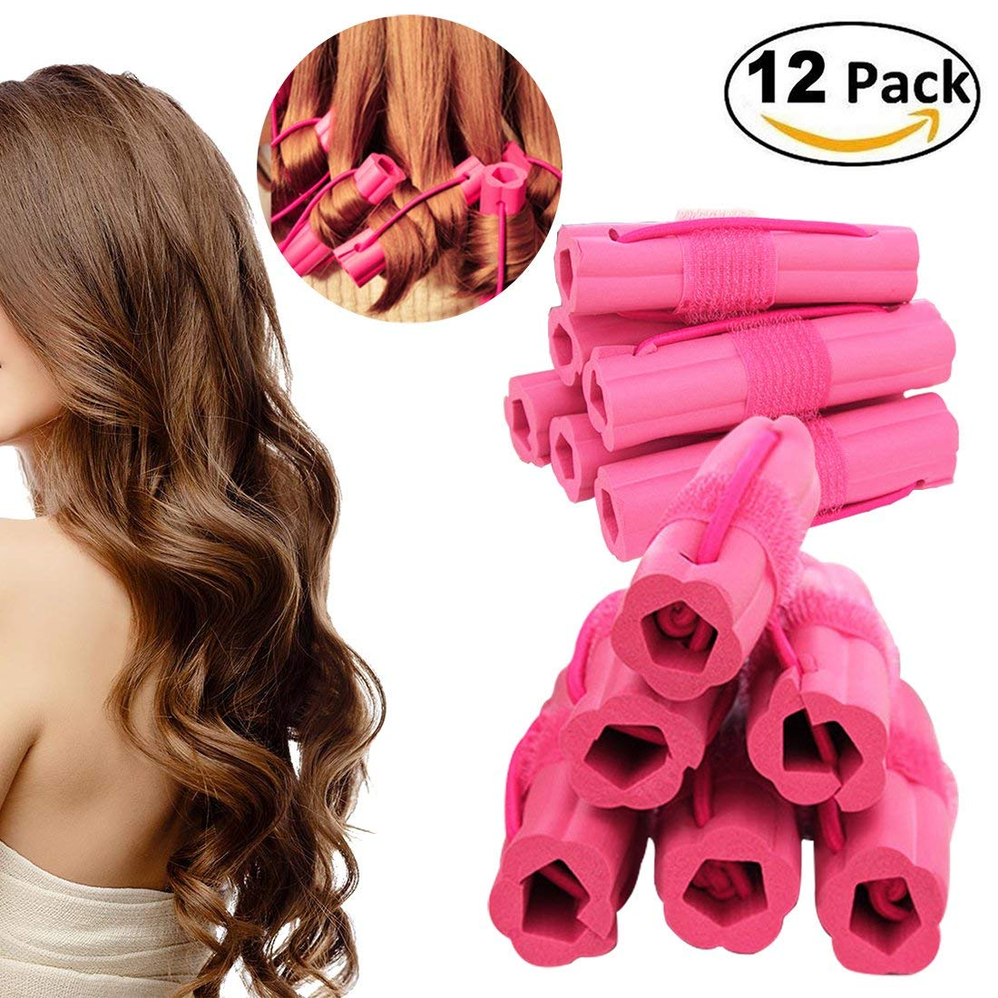 Hair Curlers, Foam Sponge Hair Curlers, Pillow Hair Curlers, No Heat Sleep Hair Roller for Long Middle-Long Thick & Thin Hair, Flexible Sleeping Hair Curlers for Women & Girls, 12 Pcs Set - Rose Red
