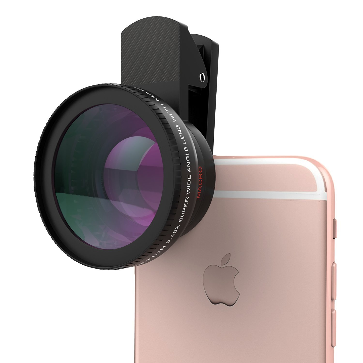 Universal Phone Camera Lens Kit,Spider-BX(TM)Clip-On 0.45X Super Wide Angle Lens and 15X Super Macro Lens,For iPhone SE/ 6s / 6s Plus /5s, Samsung Galaxy S7/S7 Edge/S6, HTC and Other Smartphone,BLACK