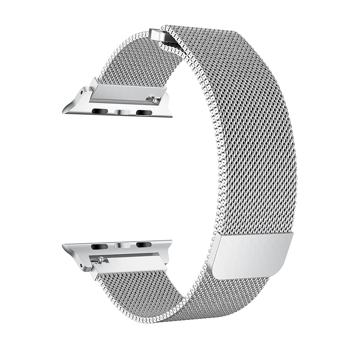 BRG for Apple Watch Band 38mm 42mm, Stainless Steel Mesh Milanese Loop with Adjustable Magnetic Closure Replacement iWatch Band for Apple Watch Series 3 2 1 (silver, 38mm)