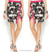 latest design ladies floral printed plain color trim short pencil skirt for women