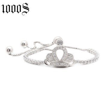 fashion style rhodium plating silver bracelet with crown decorated