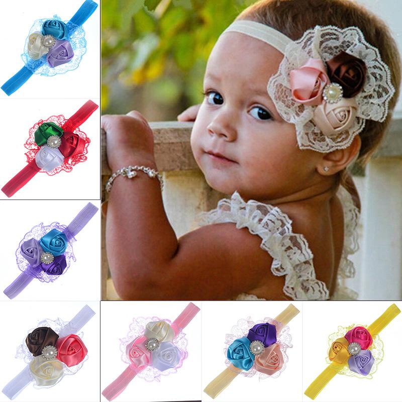 Newborn Headwear Baby Girl Wear Flower Headbands Pink Lace Hair ... e311dd28b2e