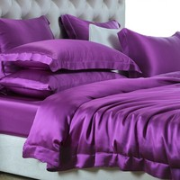 19/22/25/MM chinese luxury 100% pure mulberry silk bedding set custom silk bed sheets set