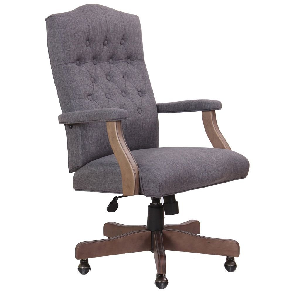 """Widmore Fabric Button-Tufted Chair with Driftwood Frame Dimensions: 27""""W x 28""""D x 43.5-47""""H Seat Dimensions: 24""""Wx19""""Dx19.5-23""""H Slate Gray Linen Fabric/Driftwood Finish Arms & Base"""