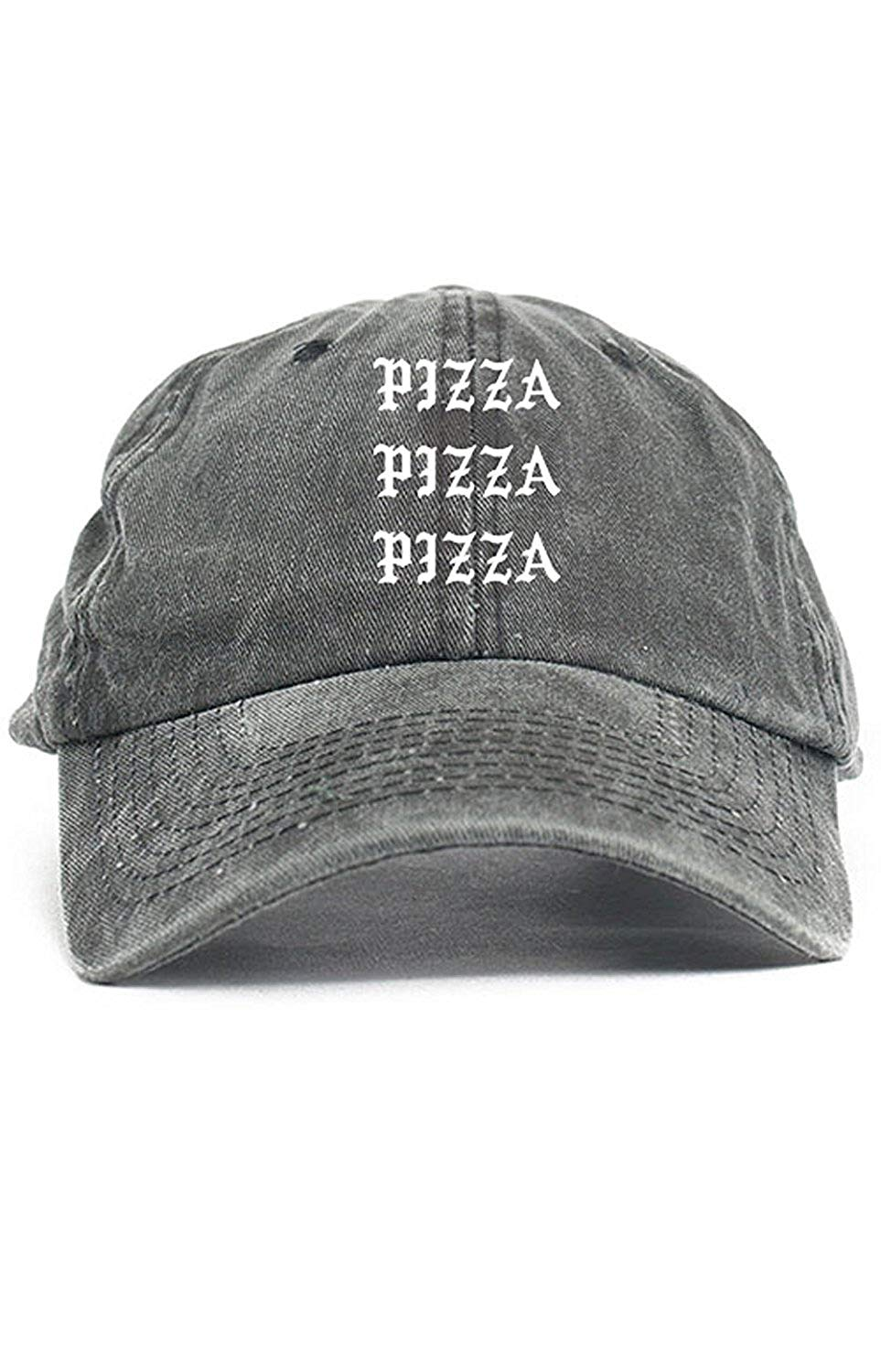 12a029edac1ed Get Quotations · Pizza Pizza Pizza Unstructured Dad Hat New - Black Denim