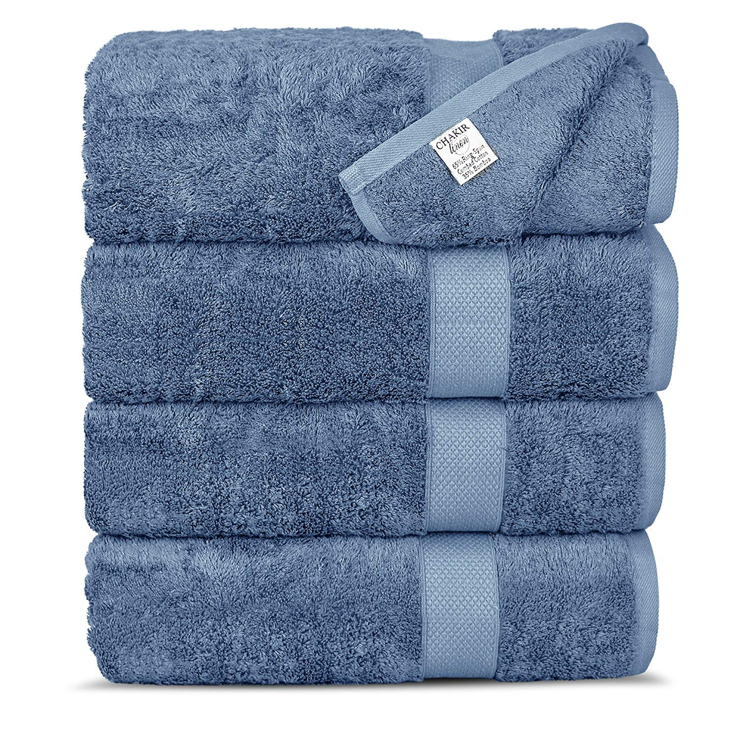 Chakir Turkish Linens Luxury Ultra Soft Bamboo 4-Piece Set Absorbent and Eco-Friendly, Bath Towels, Wedgewood