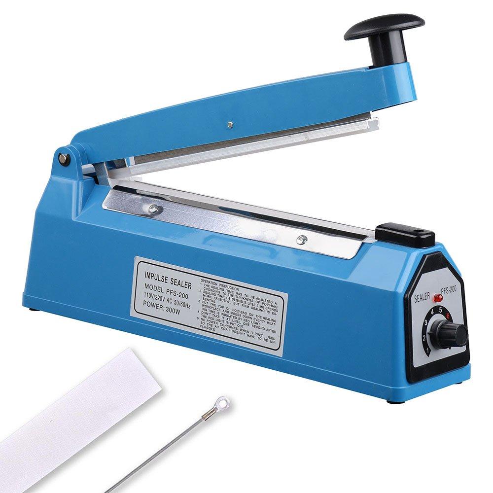 "Yescom 8"" 200mm Impulse Manual Hand Sealer Heat Sealing Machine Poly Tubing Plastic Bag"