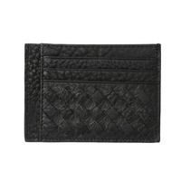 New Fashion Men Clip Wallet Genuine Leather Woven ID Credit Card Holder Business Money Clip Black/Brown