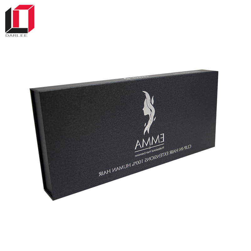 Get 100USD coupon black flip lid magnetic custom full human hair wig packaging box wholesale