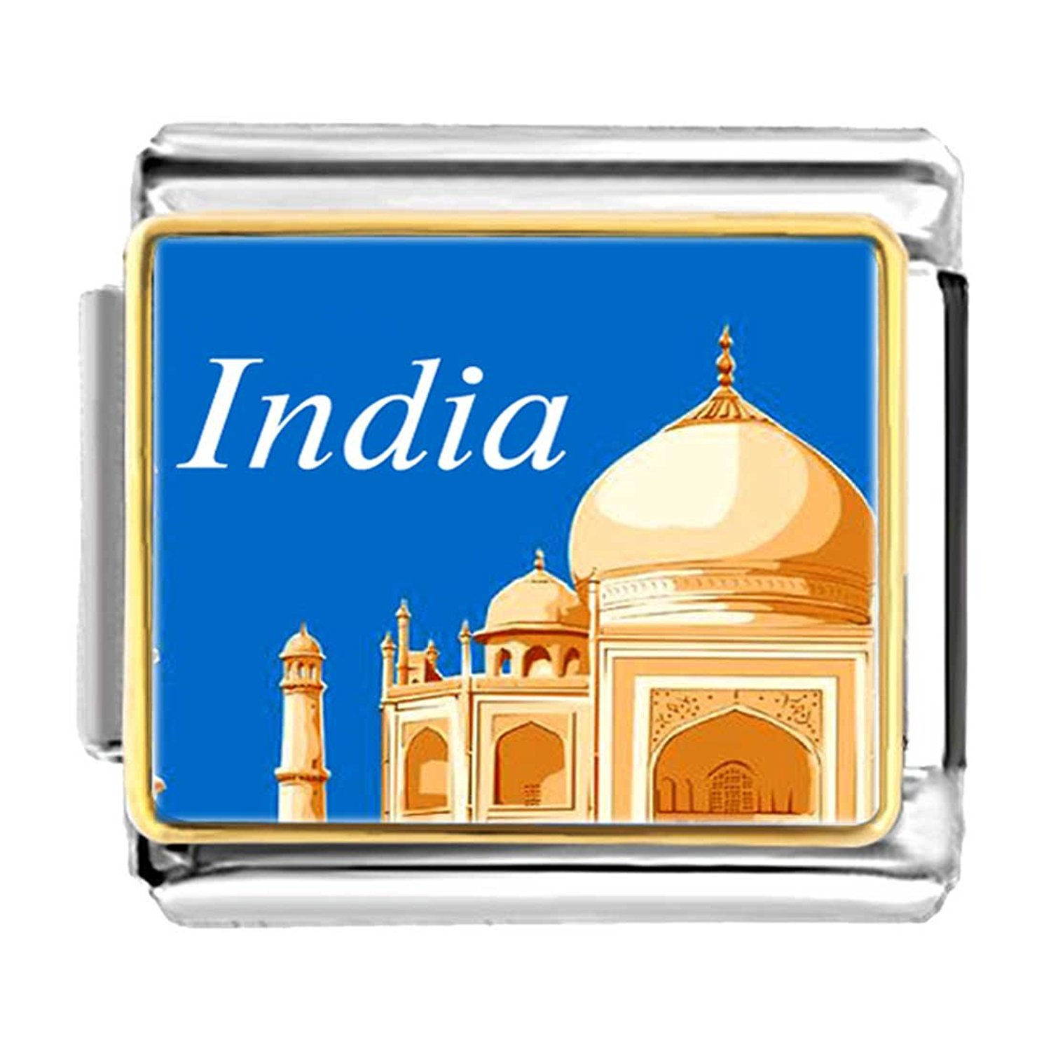 GiftJewelryShop Gold Plated Travel Taj Mahal India Bracelet Link Photo Italian Charm