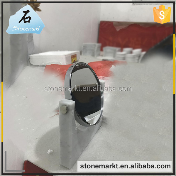 High quality lighted desktop marble stone makeup mirror