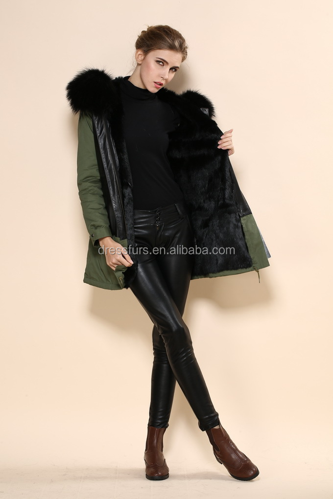 Black Leather Mens Parka Fur Hood With Faux Fur Inside And Fox Fur ...